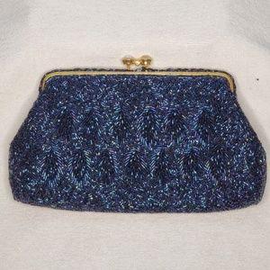 Bags - Blue Beaded Clutch/Handbag